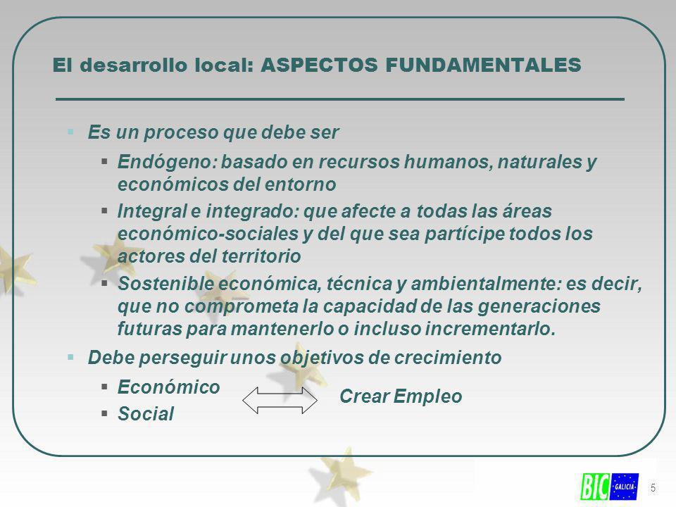 5 El desarrollo local: ASPECTOS FUNDAMENTALES Es un proceso que debe ser Endógeno: basado en recursos humanos, naturales y económicos del entorno Inte