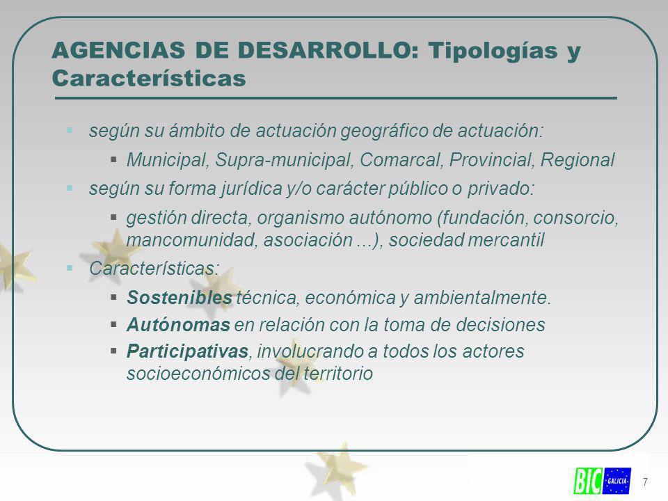 7 AGENCIAS DE DESARROLLO: Tipologías y Características según su ámbito de actuación geográfico de actuación: Municipal, Supra-municipal, Comarcal, Pro