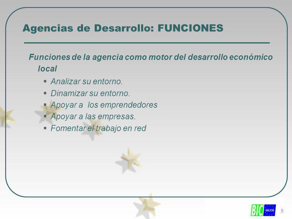 9 Agencias de Desarrollo: FUNCIONES Funciones de la agencia como motor del desarrollo económico local Analizar su entorno. Dinamizar su entorno. Apoya
