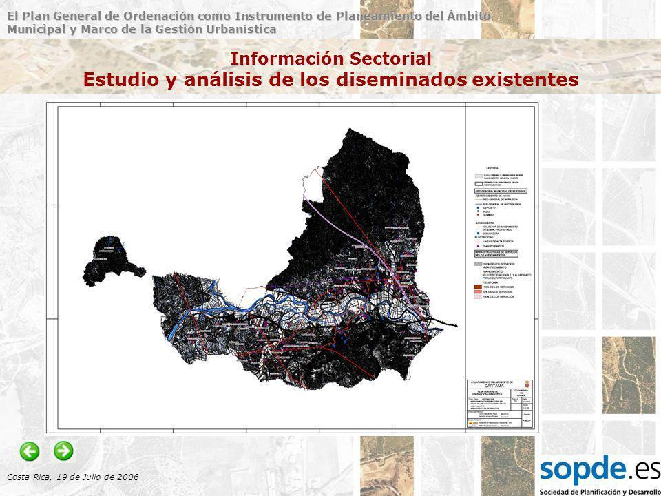 El Plan General de Ordenación como Instrumento de Planeamiento del Ámbito Municipal y Marco de la Gestión Urbanística Costa Rica, 19 de Julio de 2006 Información Sectorial Estudio y análisis de los diseminados existentes