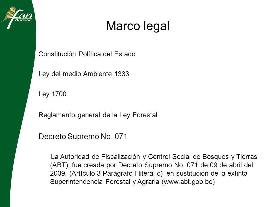 Marco legal Constitución Política del Estado Ley del medio Ambiente 1333 Ley 1700 Reglamento general de la Ley Forestal Decreto Supremo No.