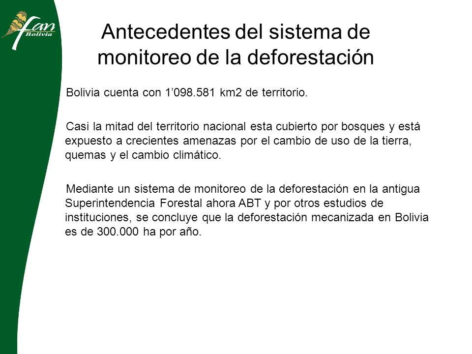 Antecedentes del sistema de monitoreo de la deforestación 2005 Se crea el primer sistema de monitoreo de la deforestación a nivel nacional en la extinta Superintendencia Forestal de Bolivia y se creo un SIG en línea para distribuir la información sobre deforestación 2006 – 2007 Se monitorea anualmente el avance de la frontera agropecuaria a nivel nacional y mediante imágenes satelitales MODIS 2008 Se empieza a monitorear la deforestación en casi tiempo real en municipios con altas tasas de deforestación anual en Bolivia.