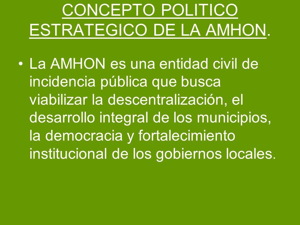 CONCEPTO POLITICO ESTRATEGICO DE LA AMHON. La AMHON es una entidad civil de incidencia pública que busca viabilizar la descentralización, el desarroll