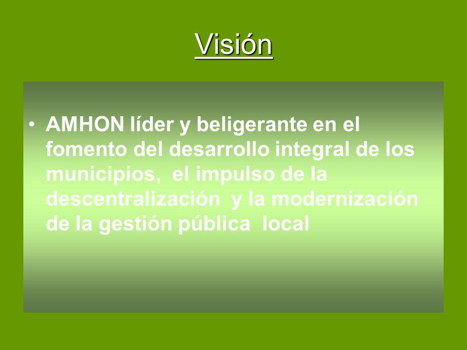 Visión AMHON líder y beligerante en el fomento del desarrollo integral de los municipios, el impulso de la descentralización y la modernización de la