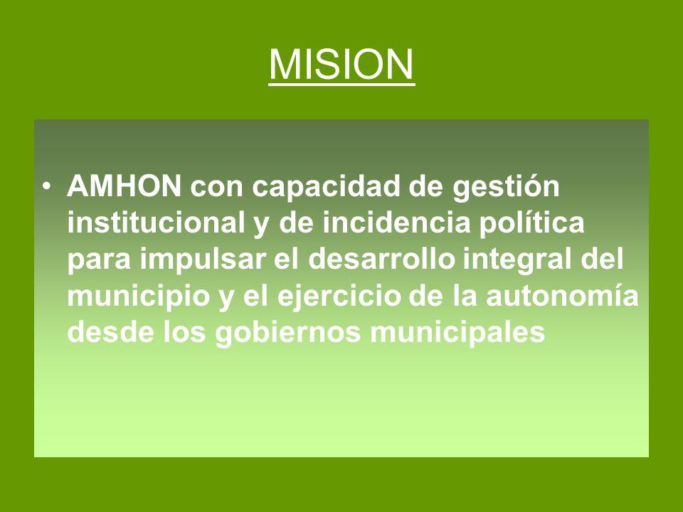 MISION AMHON con capacidad de gestión institucional y de incidencia política para impulsar el desarrollo integral del municipio y el ejercicio de la a