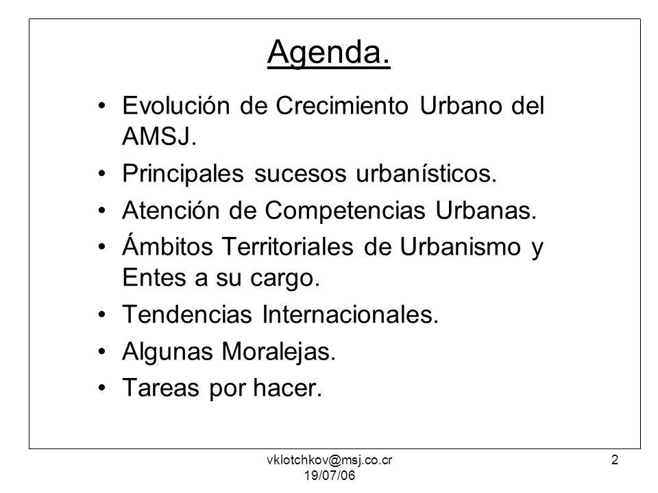 vklotchkov@msj.co.cr 19/07/06 3 Evolución del crecimiento urbano del AMSJ 1948 1963 1927 1973 1990 1999 vklotchkov@msj.co.cr