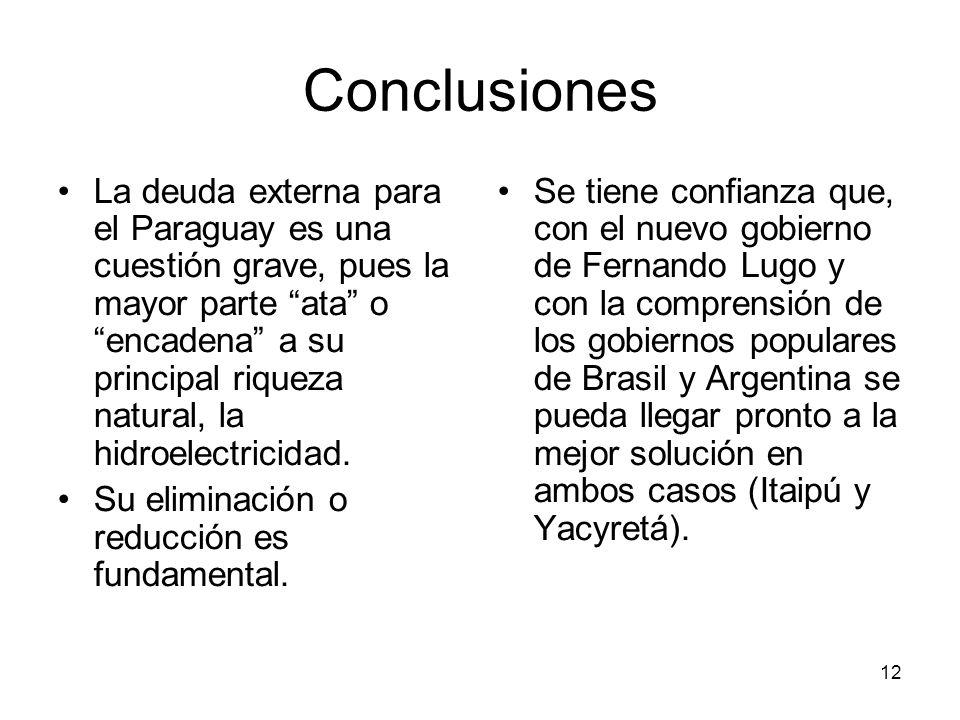 12 Conclusiones La deuda externa para el Paraguay es una cuestión grave, pues la mayor parte ata o encadena a su principal riqueza natural, la hidroel