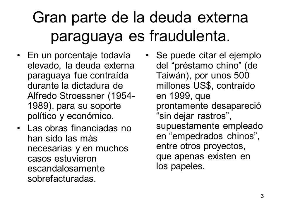 3 Gran parte de la deuda externa paraguaya es fraudulenta. En un porcentaje todavía elevado, la deuda externa paraguaya fue contraída durante la dicta