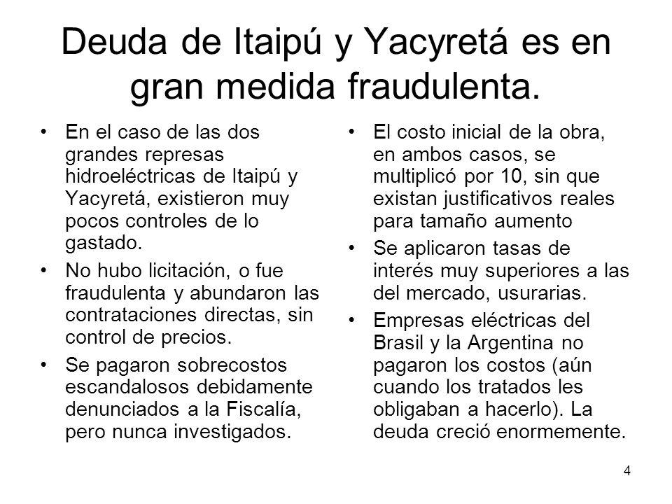 4 Deuda de Itaipú y Yacyretá es en gran medida fraudulenta. En el caso de las dos grandes represas hidroeléctricas de Itaipú y Yacyretá, existieron mu