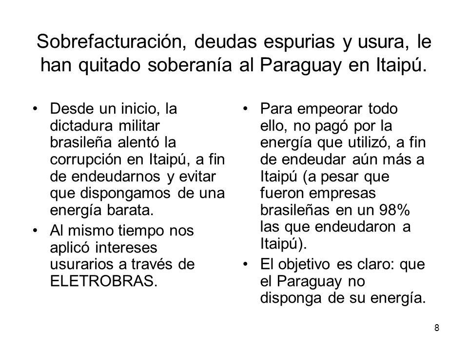 8 Sobrefacturación, deudas espurias y usura, le han quitado soberanía al Paraguay en Itaipú. Desde un inicio, la dictadura militar brasileña alentó la