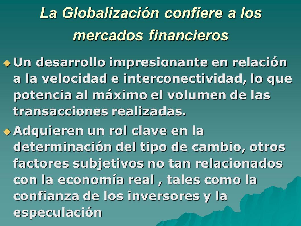 La Globalización confiere a los mercados financieros Un desarrollo impresionante en relación a la velocidad e interconectividad, lo que potencia al máximo el volumen de las transacciones realizadas.
