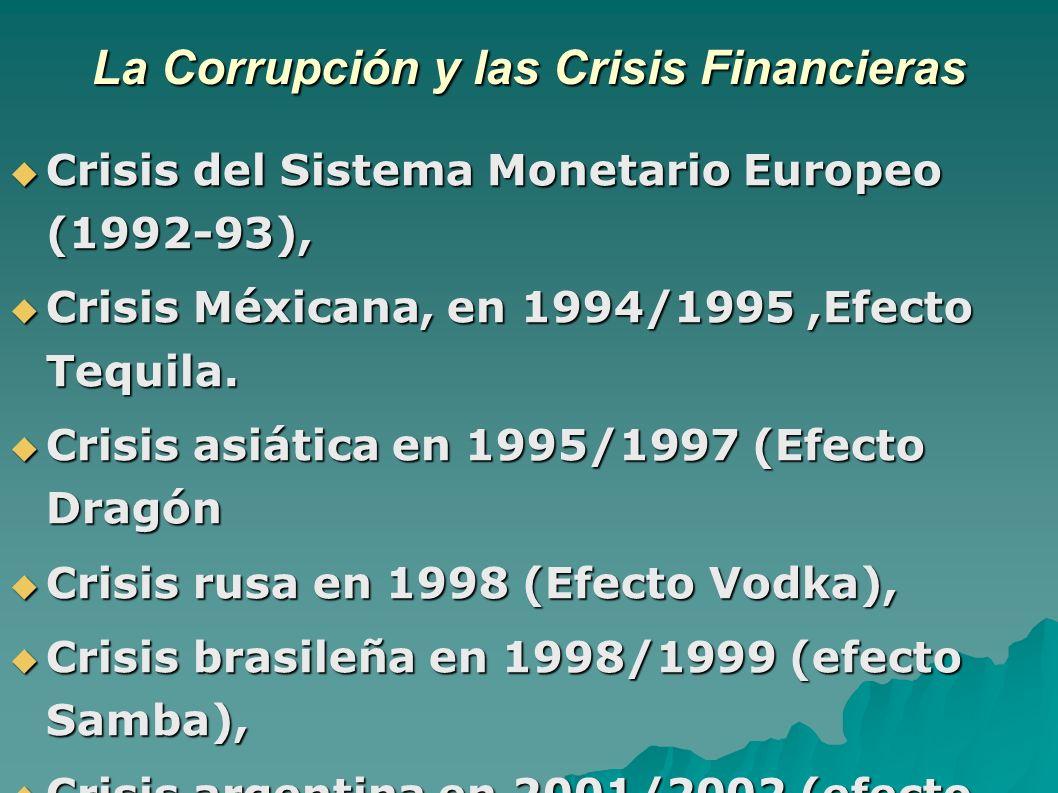 La Corrupción y las Crisis Financieras Crisis del Sistema Monetario Europeo (1992-93), Crisis del Sistema Monetario Europeo (1992-93), Crisis Méxicana, en 1994/1995,Efecto Tequila.