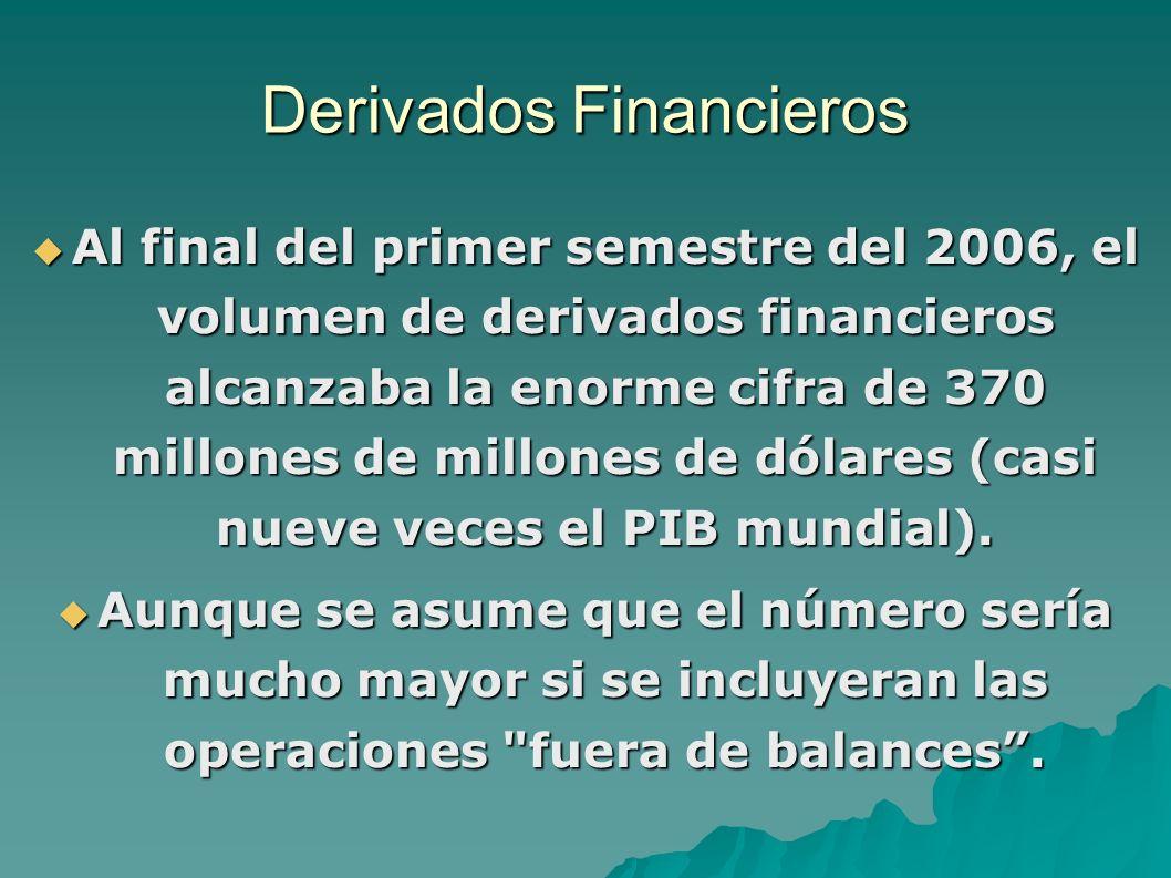 Derivados Financieros Al final del primer semestre del 2006, el volumen de derivados financieros alcanzaba la enorme cifra de 370 millones de millones de dólares (casi nueve veces el PIB mundial).