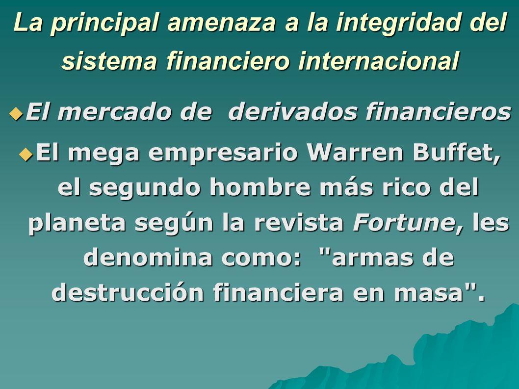 La principal amenaza a la integridad del sistema financiero internacional El mercado de derivados financieros El mercado de derivados financieros El mega empresario Warren Buffet, el segundo hombre más rico del planeta según la revista Fortune, les denomina como: armas de destrucción financiera en masa .