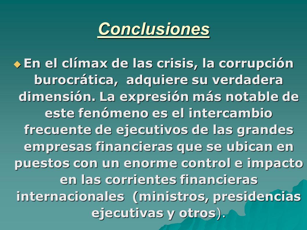 Conclusiones En el clímax de las crisis, la corrupción burocrática, adquiere su verdadera dimensión.