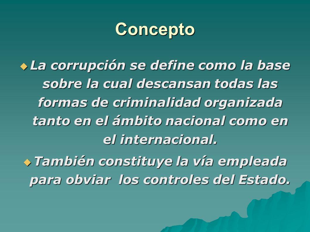 Concepto La corrupción se define como la base sobre la cual descansan todas las formas de criminalidad organizada tanto en el ámbito nacional como en el internacional.