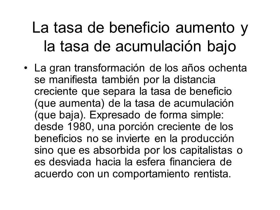La tasa de beneficio aumento y la tasa de acumulación bajo La gran transformación de los años ochenta se manifiesta también por la distancia creciente