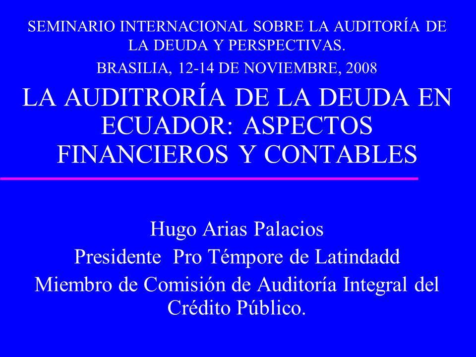 SEMINARIO INTERNACIONAL SOBRE LA AUDITORÍA DE LA DEUDA Y PERSPECTIVAS. BRASILIA, 12-14 DE NOVIEMBRE, 2008 LA AUDITRORÍA DE LA DEUDA EN ECUADOR: ASPECT