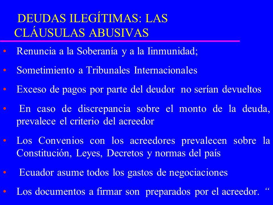 DEUDAS ILEGÍTIMAS: LAS CLÁUSULAS ABUSIVAS Renuncia a la Soberanía y a la Iinmunidad; Sometimiento a Tribunales Internacionales Exceso de pagos por parte del deudor no serían devueltos En caso de discrepancia sobre el monto de la deuda, prevalece el criterio del acreedor Los Convenios con los acreedores prevalecen sobre la Constitución, Leyes, Decretos y normas del país Ecuador asume todos los gastos de negociaciones Los documentos a firmar son preparados por el acreedor.
