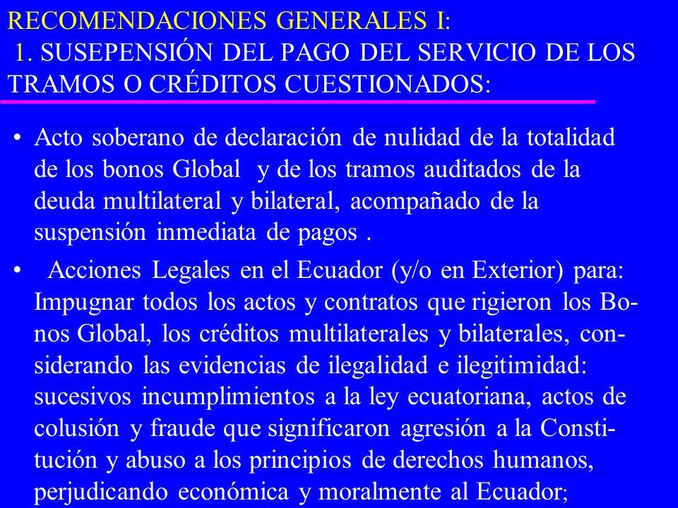 RECOMENDACIONES GENERALES I: 1. SUSEPENSIÓN DEL PAGO DEL SERVICIO DE LOS TRAMOS O CRÉDITOS CUESTIONADOS: Acto soberano de declaración de nulidad de la