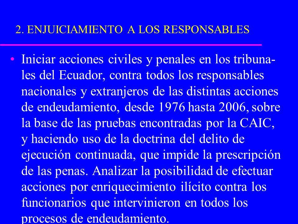 2. ENJUICIAMIENTO A LOS RESPONSABLES Iniciar acciones civiles y penales en los tribuna- les del Ecuador, contra todos los responsables nacionales y ex