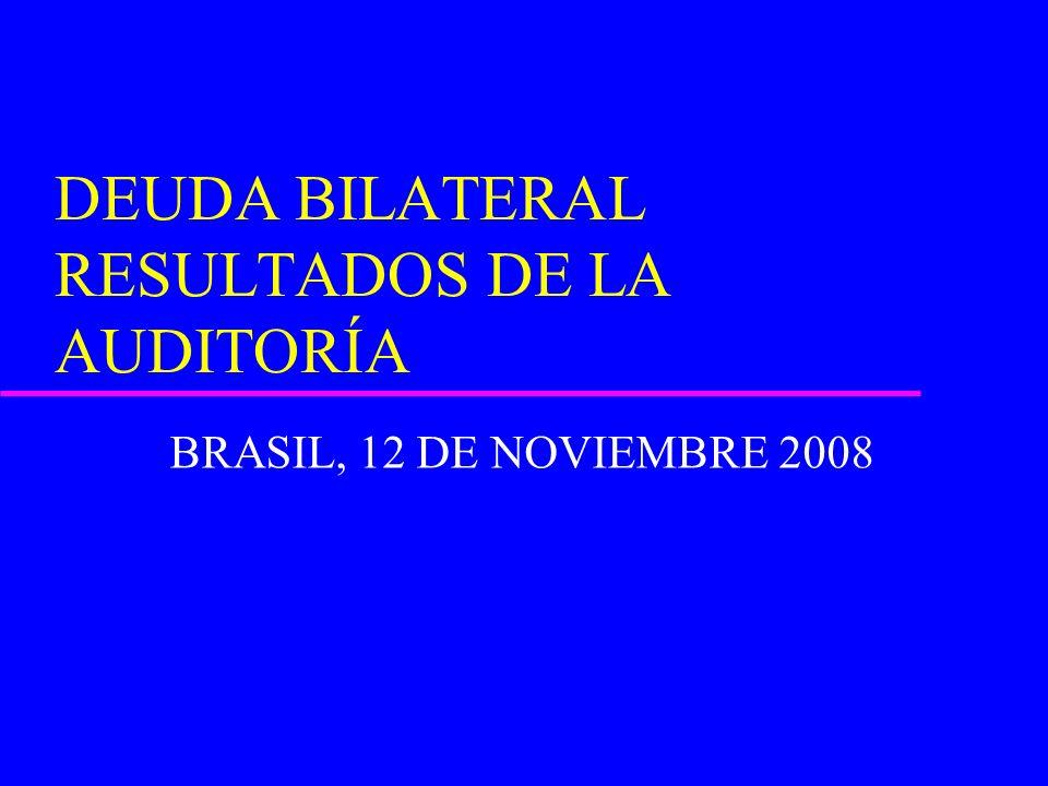 DEUDA BILATERAL RESULTADOS DE LA AUDITORÍA BRASIL, 12 DE NOVIEMBRE 2008
