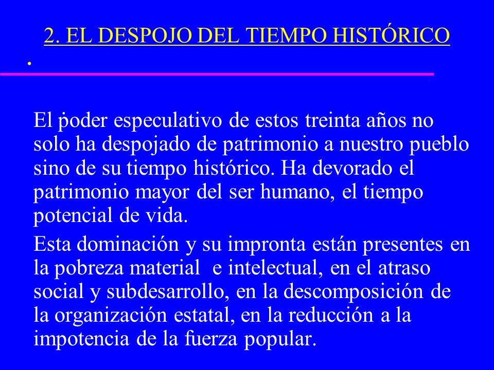 .. 2. EL DESPOJO DEL TIEMPO HISTÓRICO El poder especulativo de estos treinta años no solo ha despojado de patrimonio a nuestro pueblo sino de su tiemp