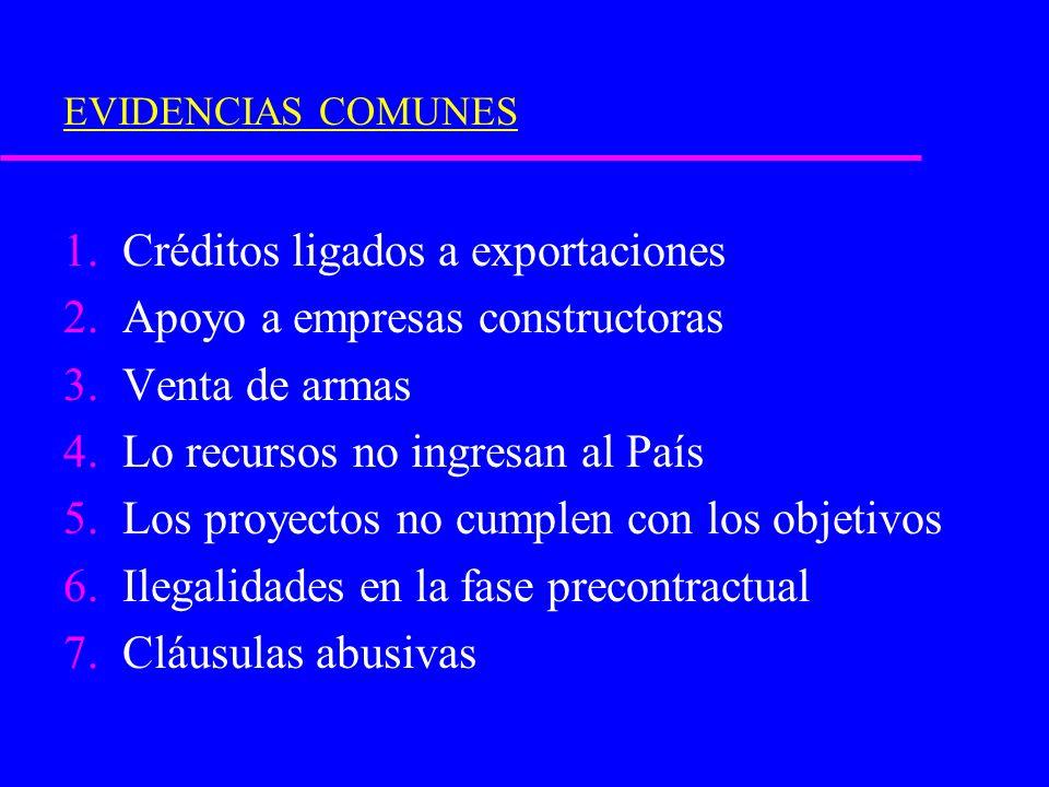 EVIDENCIAS COMUNES 1.Créditos ligados a exportaciones 2.Apoyo a empresas constructoras 3.Venta de armas 4.Lo recursos no ingresan al País 5.Los proyec
