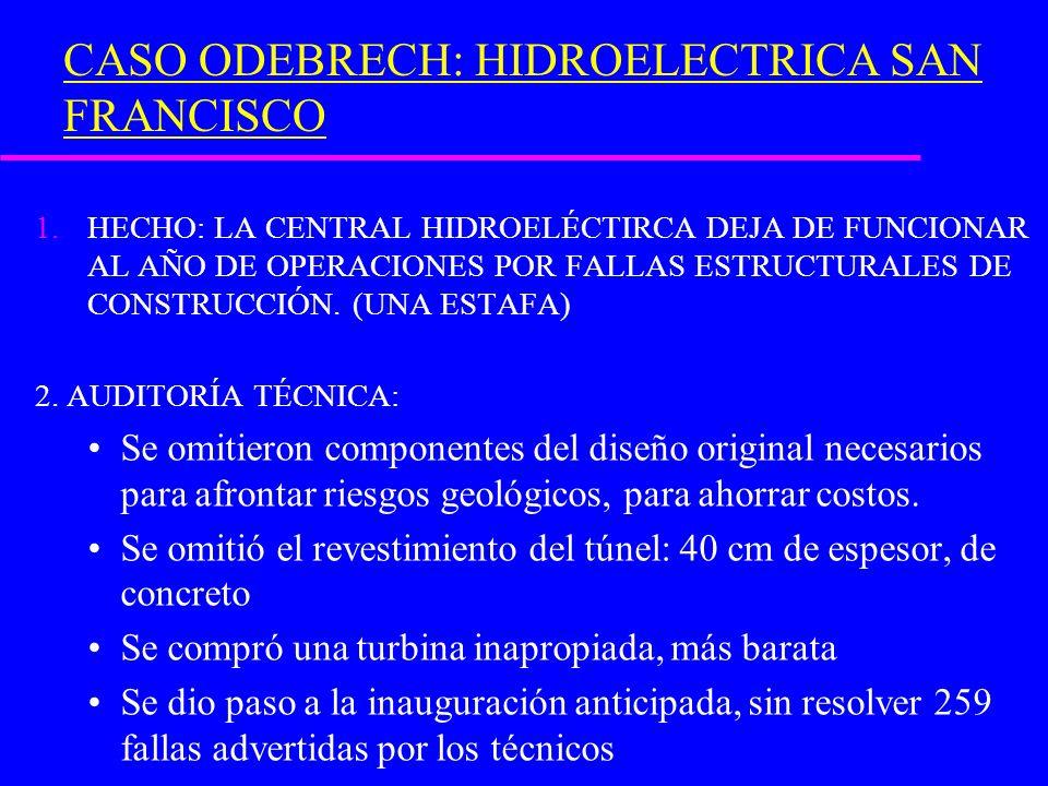 CASO ODEBRECH: HIDROELECTRICA SAN FRANCISCO 1.HECHO: LA CENTRAL HIDROELÉCTIRCA DEJA DE FUNCIONAR AL AÑO DE OPERACIONES POR FALLAS ESTRUCTURALES DE CONSTRUCCIÓN.