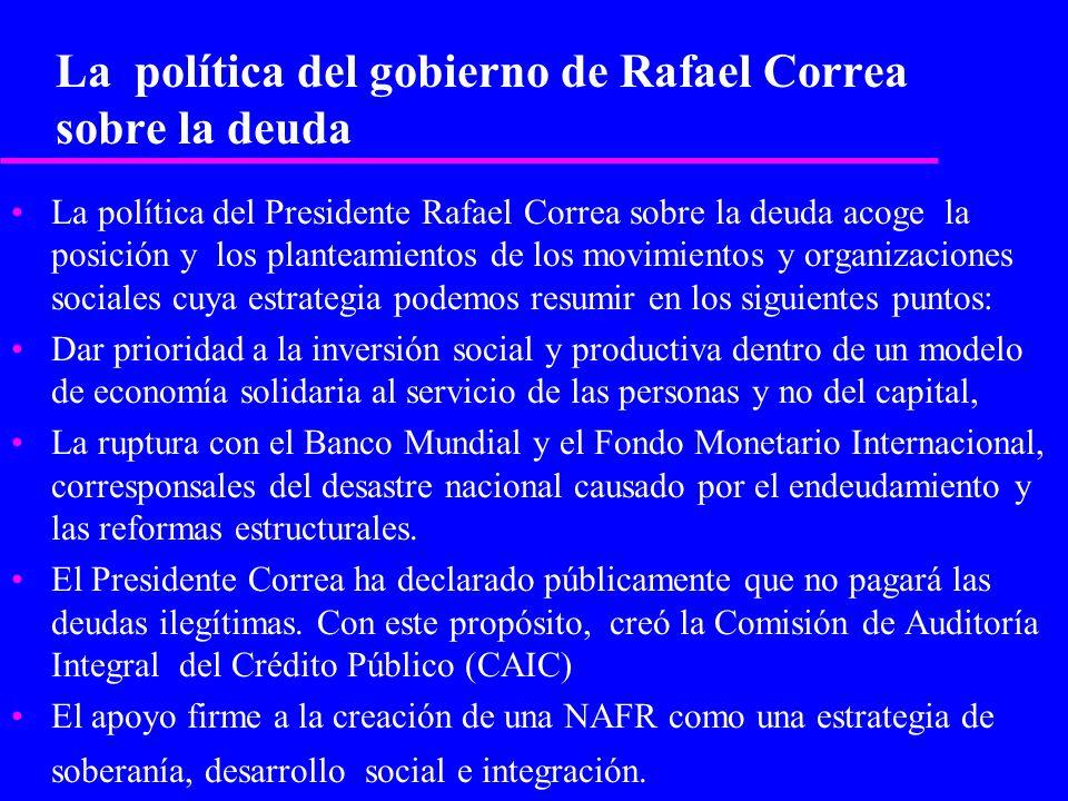 La política del gobierno de Rafael Correa sobre la deuda La política del Presidente Rafael Correa sobre la deuda acoge la posición y los planteamiento
