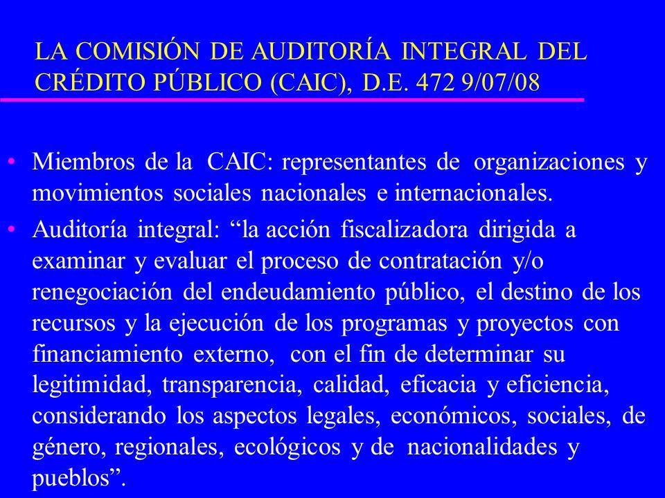 LA COMISIÓN DE AUDITORÍA INTEGRAL DEL CRÉDITO PÚBLICO (CAIC), D.E. 472 9/07/08 Miembros de la CAIC: representantes de organizaciones y movimientos soc