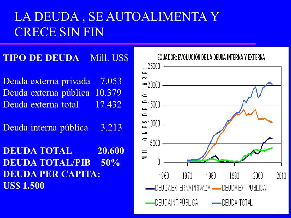 TIPO DE DEUDA Mill. US$ Deuda externa privada 7.053 Deuda externa pública 10.379 Deuda externa total 17.432 Deuda interna pública 3.213 DEUDA TOTAL 20