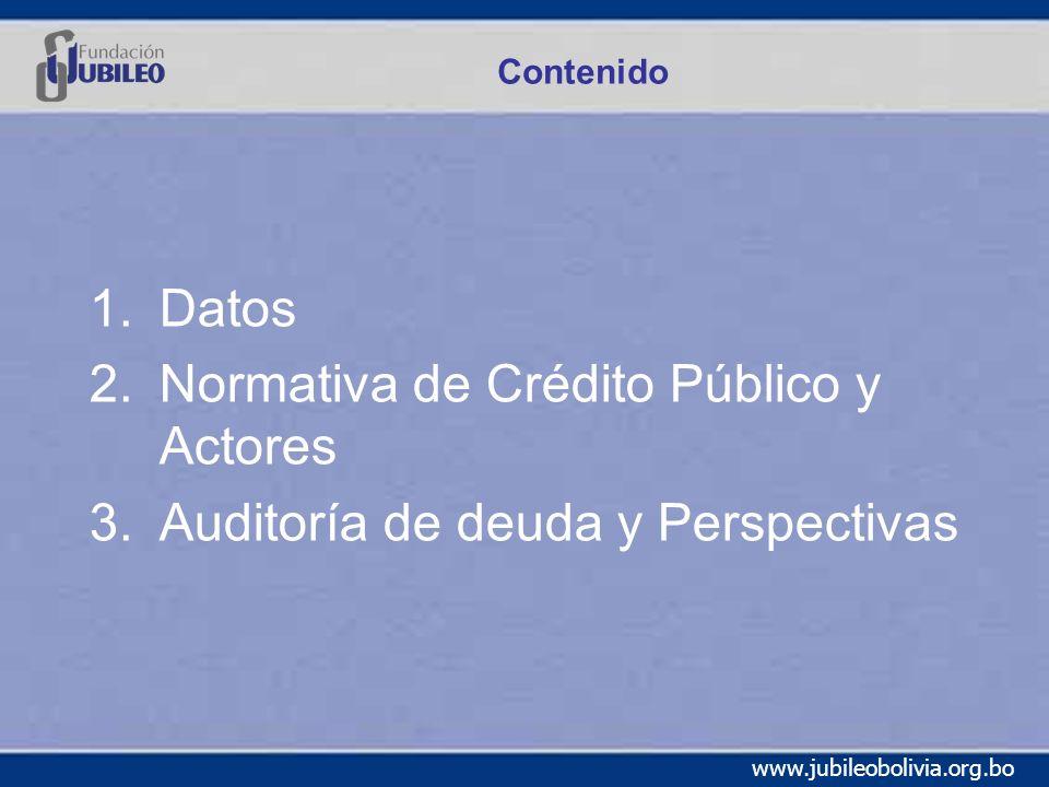 www.jubileobolivia.org.bo Contenido 1.Datos 2.Normativa de Crédito Público y Actores 3.Auditoría de deuda y Perspectivas