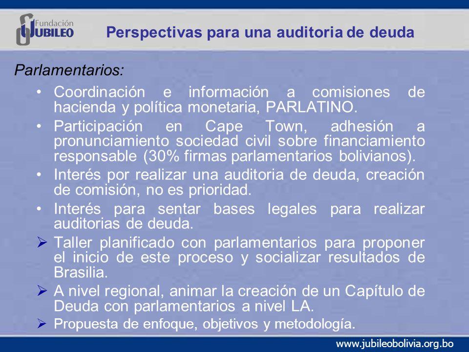 www.jubileobolivia.org.bo Perspectivas para una auditoria de deuda Coordinación e información a comisiones de hacienda y política monetaria, PARLATINO.