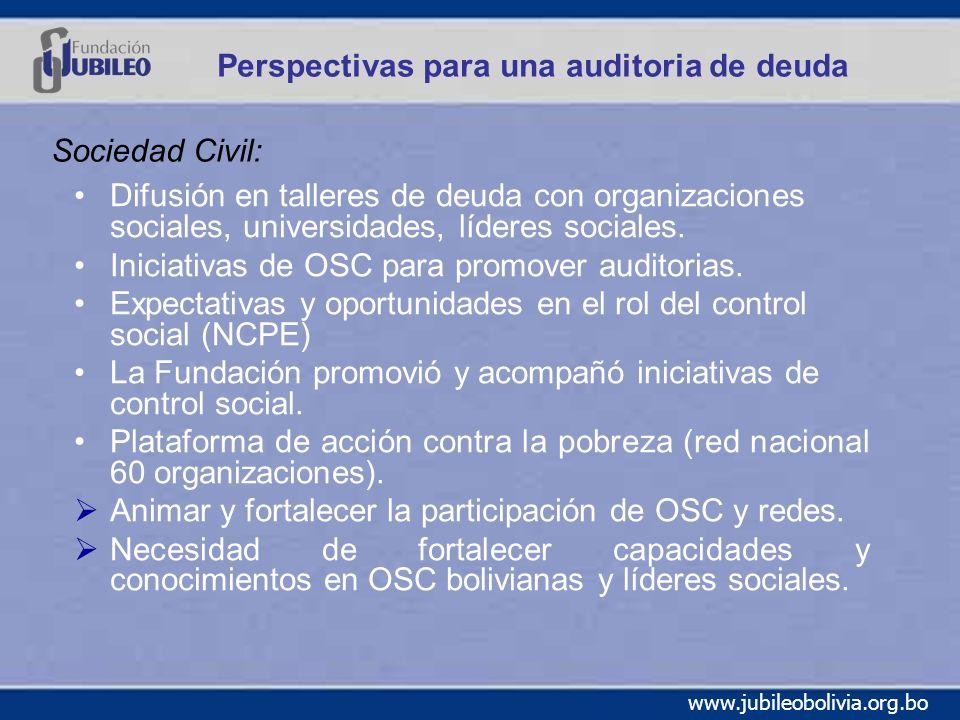 www.jubileobolivia.org.bo Perspectivas para una auditoria de deuda Difusión en talleres de deuda con organizaciones sociales, universidades, líderes sociales.