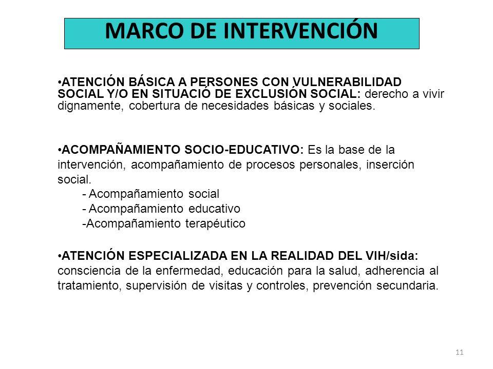 11 MARCO DE INTERVENCIÓN ATENCIÓN BÁSICA A PERSONES CON VULNERABILIDAD SOCIAL Y/O EN SITUACIÓ DE EXCLUSIÓN SOCIAL: derecho a vivir dignamente, cobertu
