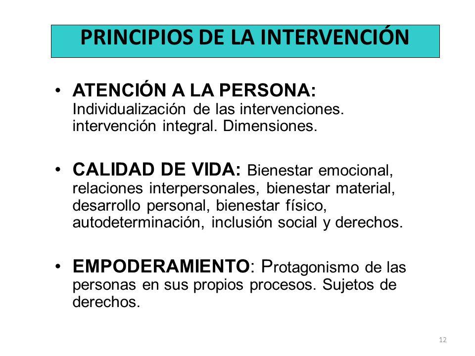 12 PRINCIPIOS DE LA INTERVENCIÓN ATENCIÓN A LA PERSONA: Individualización de las intervenciones. intervención integral. Dimensiones. CALIDAD DE VIDA: