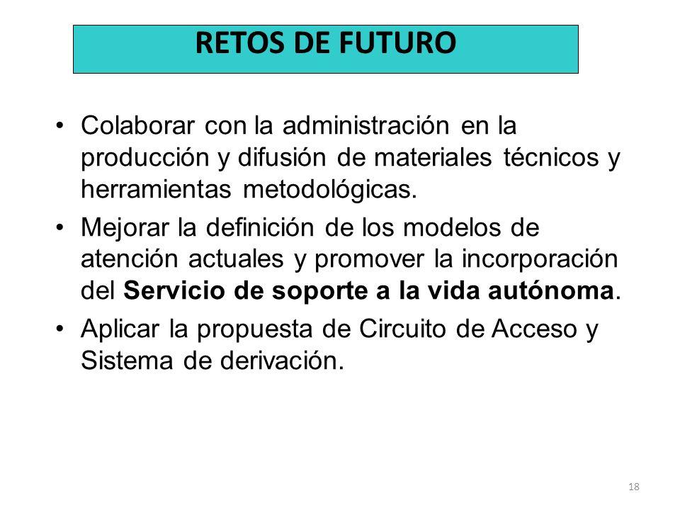 18 Colaborar con la administración en la producción y difusión de materiales técnicos y herramientas metodológicas. Mejorar la definición de los model