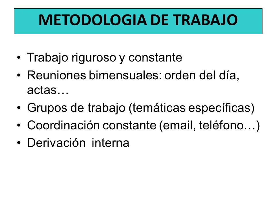 Trabajo riguroso y constante Reuniones bimensuales: orden del día, actas… Grupos de trabajo (temáticas específicas) Coordinación constante (email, tel