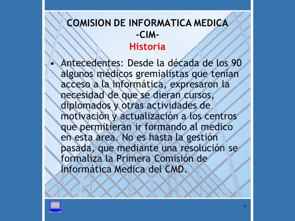 5 COMISION DE INFORMATICA MEDICA -CIM- Aspecto Legal Ley de Colegiación Medica Reglamento de Sociedades Especializadas