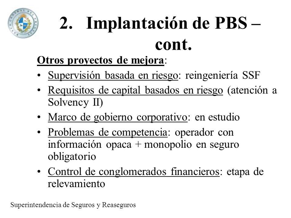 2.Implantación de PBS – cont. Otros proyectos de mejora: Supervisión basada en riesgo: reingeniería SSF Requisitos de capital basados en riesgo (atenc