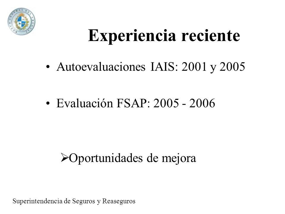 Experiencia reciente Autoevaluaciones IAIS: 2001 y 2005 Evaluación FSAP: 2005 - 2006 Oportunidades de mejora Superintendencia de Seguros y Reaseguros