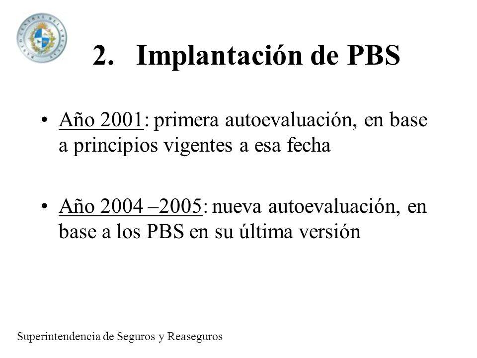 2.Implantación de PBS Año 2001: primera autoevaluación, en base a principios vigentes a esa fecha Año 2004 –2005: nueva autoevaluación, en base a los PBS en su última versión Superintendencia de Seguros y Reaseguros