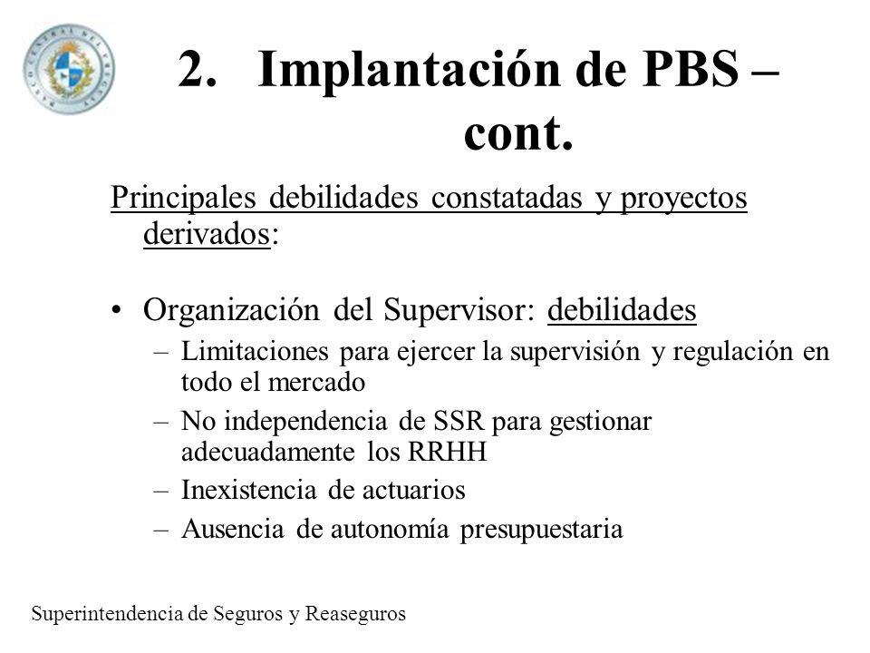 2.Implantación de PBS – cont. Principales debilidades constatadas y proyectos derivados: Organización del Supervisor: debilidades –Limitaciones para e
