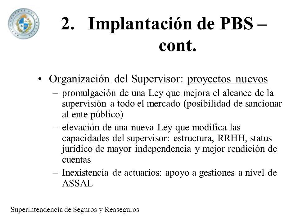 2.Implantación de PBS – cont. Organización del Supervisor: proyectos nuevos –promulgación de una Ley que mejora el alcance de la supervisión a todo el