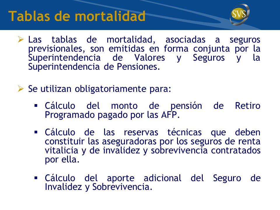 Tablas de mortalidad Las tablas de mortalidad, asociadas a seguros previsionales, son emitidas en forma conjunta por la Superintendencia de Valores y Seguros y la Superintendencia de Pensiones.