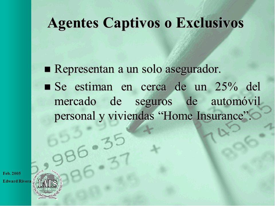 Feb. 2005 Edward Rivera Agentes Captivos o Exclusivos n Representan a un solo asegurador. n Se estiman en cerca de un 25% del mercado de seguros de au