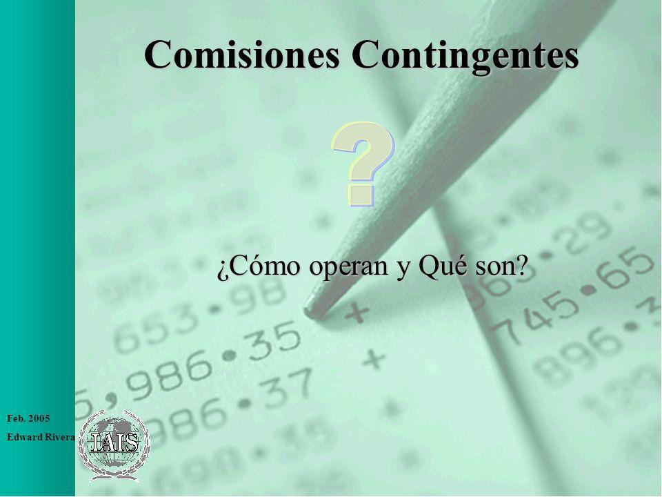 Feb. 2005 Edward Rivera Comisiones Contingentes ¿Cómo operan y Qué son?