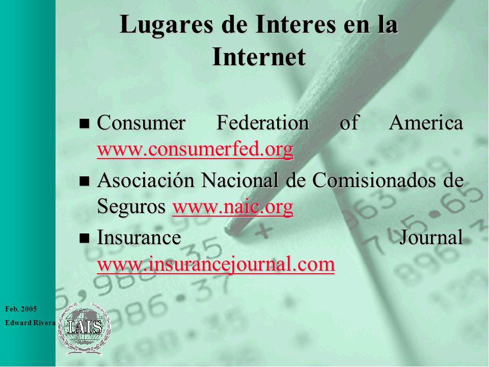 Feb. 2005 Edward Rivera Lugares de Interes en la Internet n Consumer Federation of America www.consumerfed.org www.consumerfed.org n Asociación Nacion
