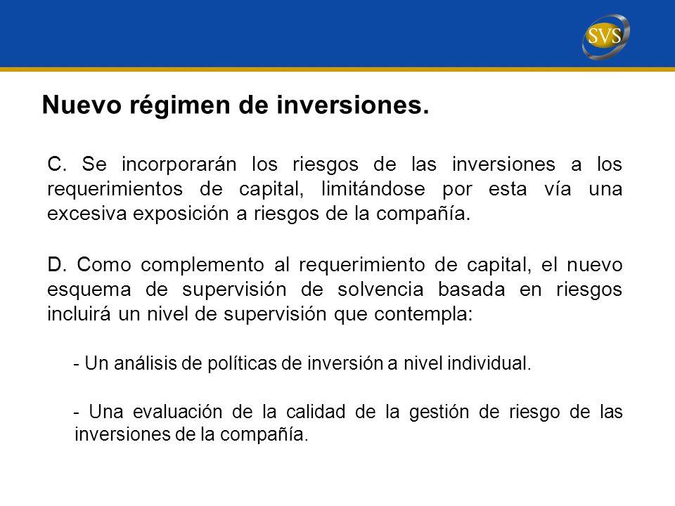 Nuevo régimen de inversiones.C.